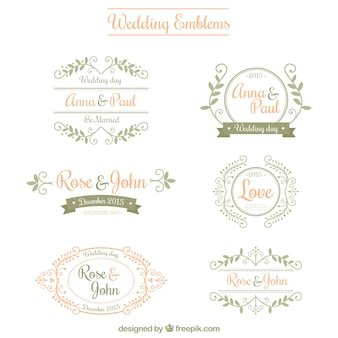 Emblèmes de mariage d'ornement