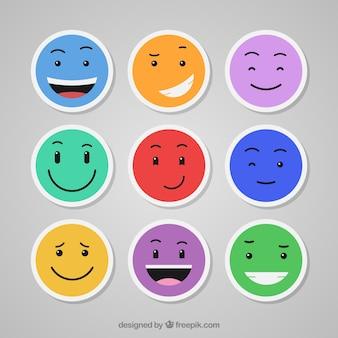 Émoticônes ensemble coloré