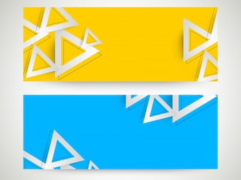 En-têtes de site Web de couleurs jaune et bleu ciel avec des éléments géométriques en triangles.