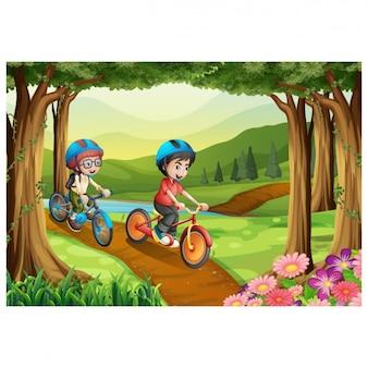 Enfants chevauchant un vélo