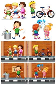 Enfants jouant avec des amis sur la route