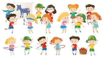 Enfants jouant différents jeux