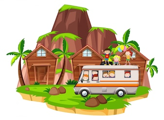 Enfants montés sur camping-car