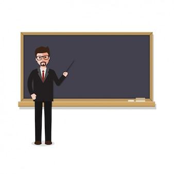 Enseignant avec un design tableau noir