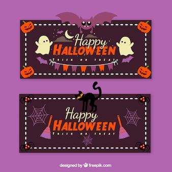 Ensemble classique de bannières de fête d'Halloween