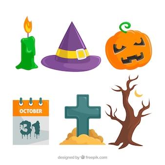 Ensemble coloré d'éléments de Halloween