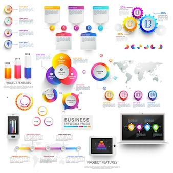Ensemble coloré d'éléments utiles pour infographies