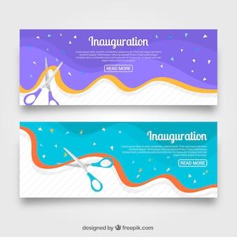 Ensemble coloré de bannières de fête d'inauguration