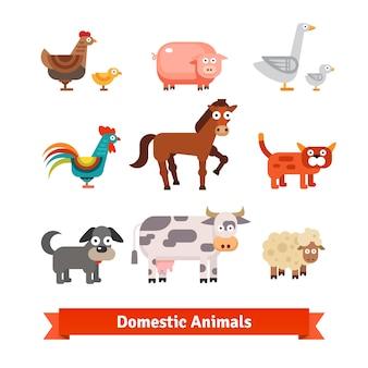Ensemble d'animaux domestiques de ferme villageoise
