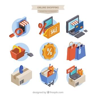 Ensemble d'articles d'achat en ligne isométriques