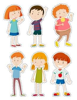Ensemble d'autocollants d'illustration des enfants heureux