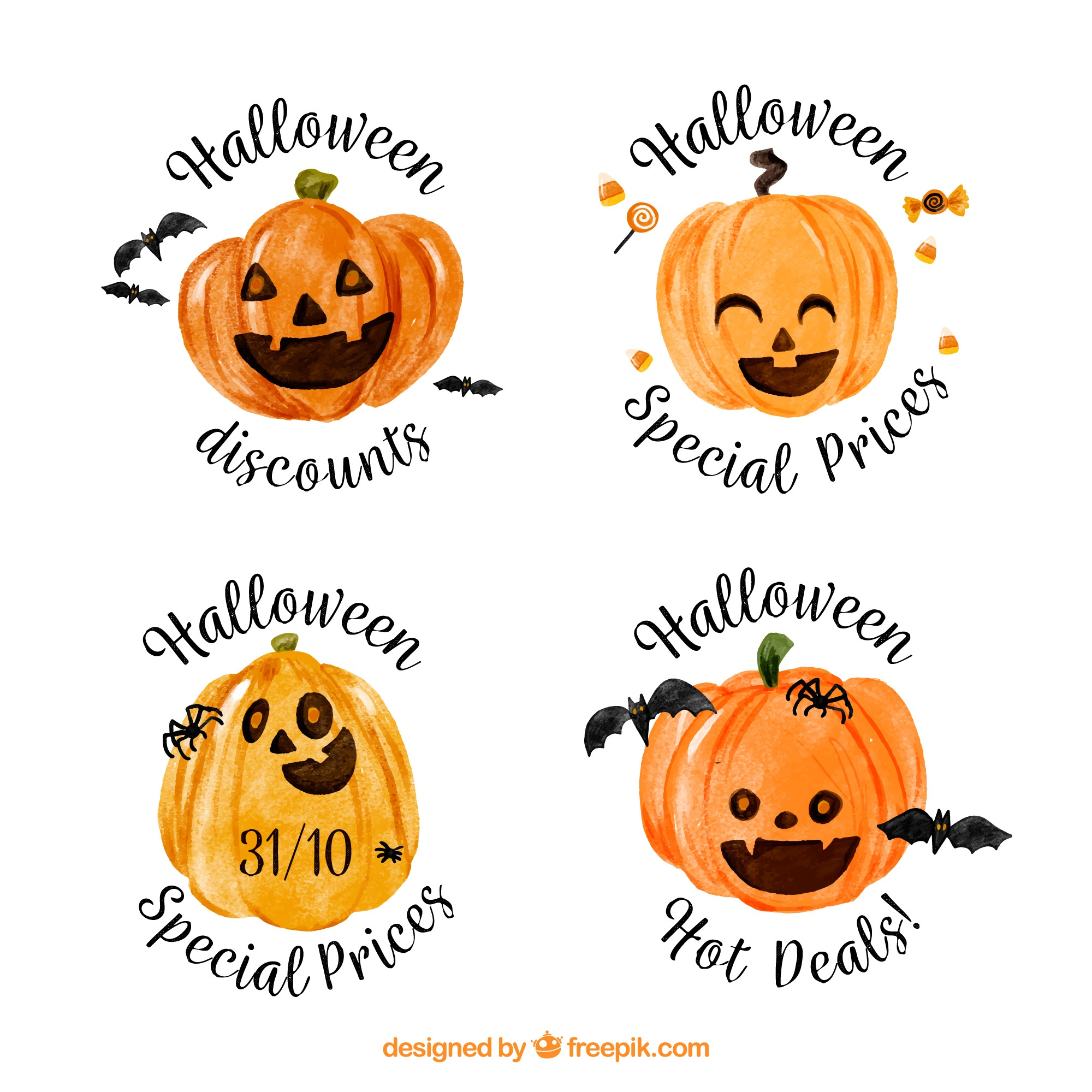 Ensemble d'autocollants de citrouille aquarelle Halloween
