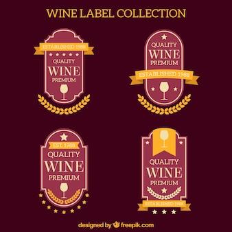 Ensemble d'élégantes étiquettes de vin rétro