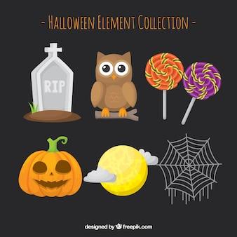 Ensemble d'éléments de Halloween avec hibou
