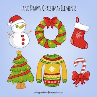 Ensemble d'éléments décoratifs de Noël dessinés à la main