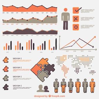 Ensemble d'éléments infographiques avec des détails orange,