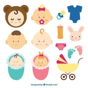 Ensemble d'éléments mignons pour votre bébé