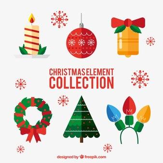 Ensemble d'éléments plats de Noël décoratifs