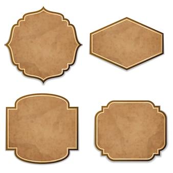 Ensemble d'étiquettes réalistes en cuir