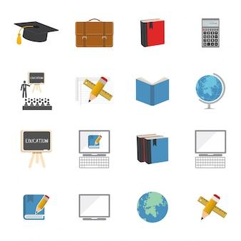 Ensemble d'icônes d'éducation à plein écran vectoriel