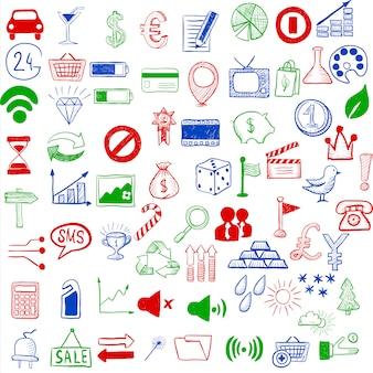 Ensemble d'icônes d'esquisse pour site ou application mobile