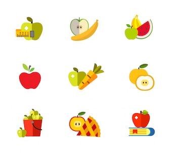 Ensemble d'icônes de concept Apple