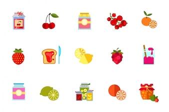 Ensemble d'icônes de fruits et fruits