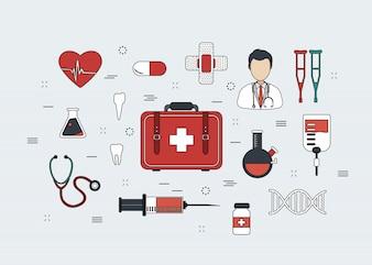 Ensemble d'icônes de médecine de ligne mince