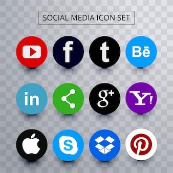 Ensemble d'icônes de médias sociaux colorés