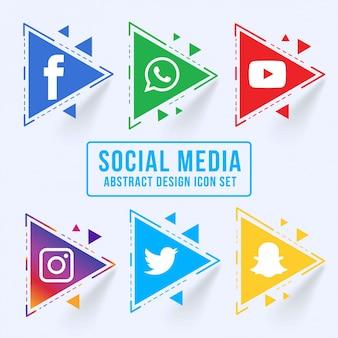 Ensemble d'icônes de médias sociaux triangulaires abstraits
