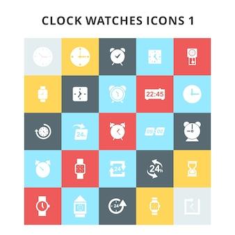 Ensemble d'icônes de montres d'horloge