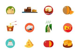 Ensemble d'icônes de nourriture au fromage