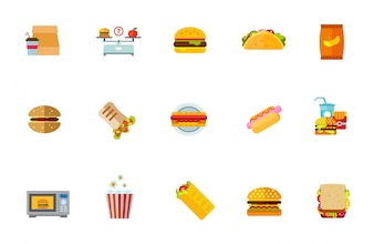Ensemble d'icônes de nourriture malsaine