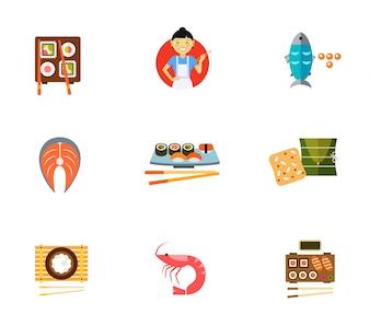 Ensemble d'icônes de nourriture traditionnelle japonaise