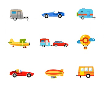 Ensemble d'icônes de transport