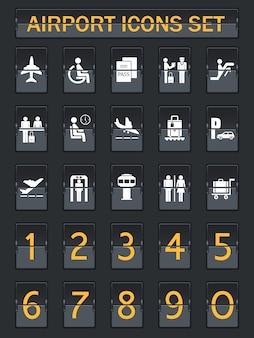 Ensemble d'icônes du panneau d'information de l'aéroport