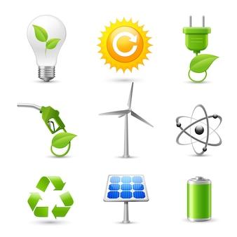 Ensemble d'icônes réalistes en énergie et en écologie