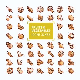 Ensemble d'icônes vectorielles de fruits et légumes au style d'une ligne fine, coup de bout modifiable
