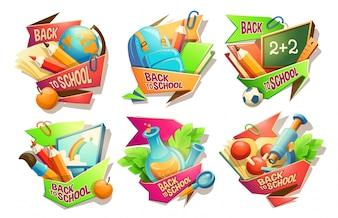 Ensemble d'illustrations de dessin animé vectoriel, badges, autocollants, emblèmes, icônes colorées des fournitures scolaires