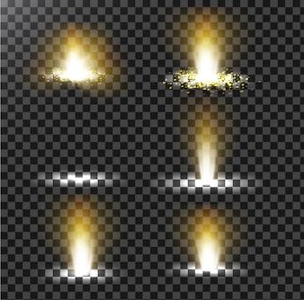 Ensemble d'illustrations vectorielles d'un rayon lumineux doré avec un paillettes, un faisceau lumineux