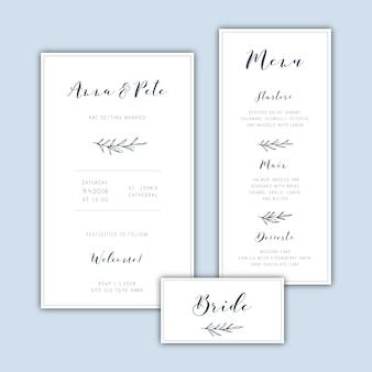 Ensemble d'invitation de mariage minimaliste classique avec feuilles dessinées à la main
