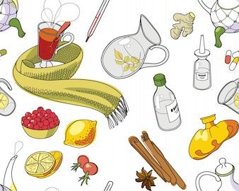 Ensemble d'objets et d'herbes pour traiter le rhume.