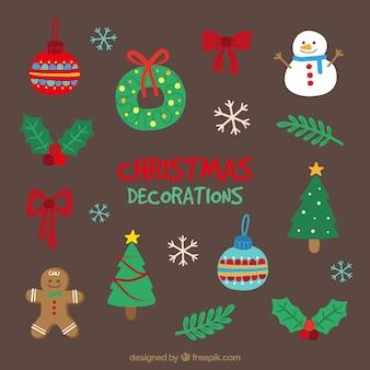 Ensemble d'objets fantastiques pour Noël tiré par la main