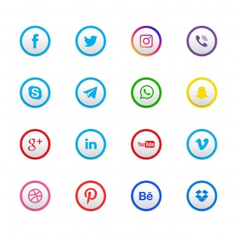 Ensemble de 16 icônes de réseaux sociaux