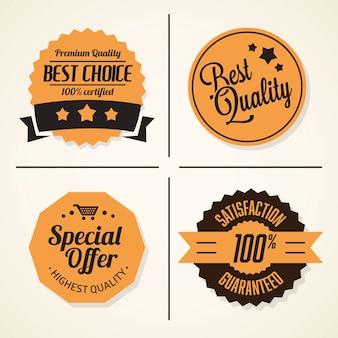 Ensemble de badges et étiquettes vintage rétro