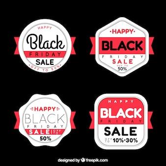 Ensemble de badges rétro vendredi noir