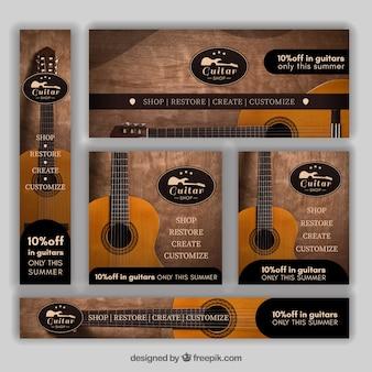 Ensemble de bannières de guitare