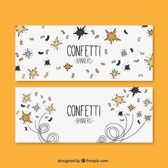 Ensemble de bannières dessinés à la main avec des confettis