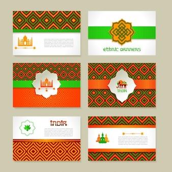 Ensemble de bannières indiennes ethniques dans la conception nationale de couleurs de mise en page