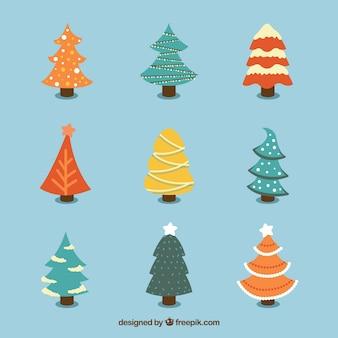 Ensemble de beaux arbres de Noël dessinés à la main